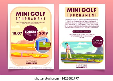 Mini golf tournament cartoon promo brochure, invitation flyer template. Player with putter playing golf on course or putting line outdoors illustration. Country sports club competition leaflet