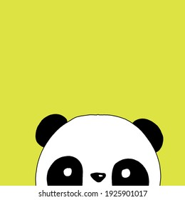 mini series of hand drawing panda animals on lemon green background. Black and white drawing, poster, print ready with copy space. Decorative elements, children educative material