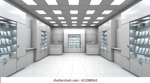 Mini shop blank interior. 3d image