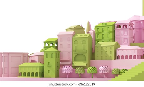 Mini toy Old city concept pink and green isolated on white, 3d rendering