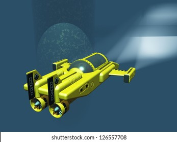 Mini two man submarine using spotlights to examine oil rig supports