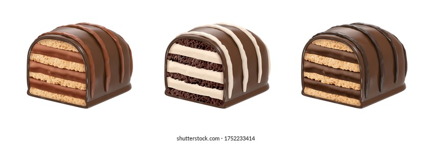 Mini wafer set with chocolate covered cream. Mini wafer bar - 3D Rendering