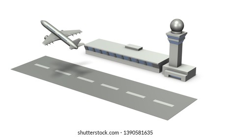 Miniature airport. The plane is taking off. White background. 3D illustration.