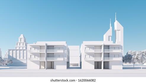 Miniature city model, regular street view. 3D render