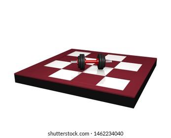 Miniature dumbbell on chessboard. 3d rendering