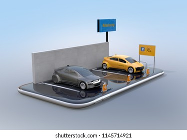 Miniature electric cars on smartphone. Car sharing concept. 3D rendering image.