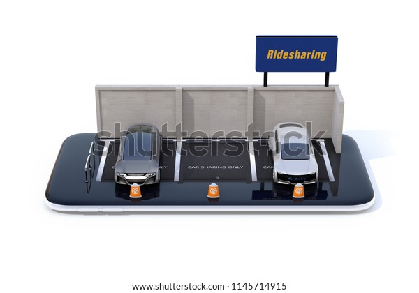 Miniature electric cars parking on smartphone. White background. Car sharing concept. 3D rendering image.