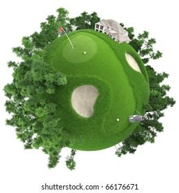 miniature golf planet concept with nice grass course, club house and trees. isolated on white