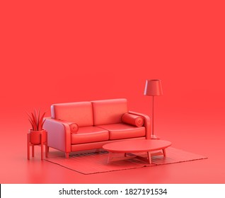 miniature interior room with sofa in red background, monochrome single color red 3d Icon, 3d rendering