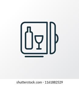 Minibar icon line symbol. Premium quality isolated mini fridge element in trendy style.