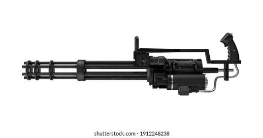 Minigun 3D illustration on white background