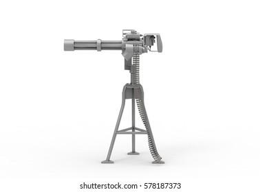 Minigun. 3D Rendering.