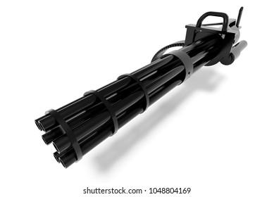 minigun quick-firing machine gun 3d