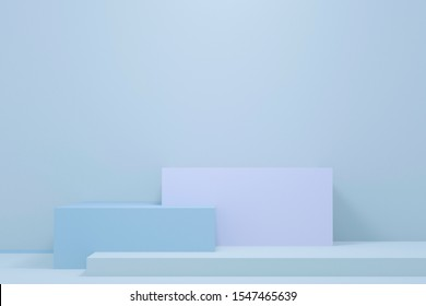 Minimal 3d rendering scene with composition empty cube blue pastel podium for product and abstract background. mock up geometric shape in pastel colors. 3d illustration