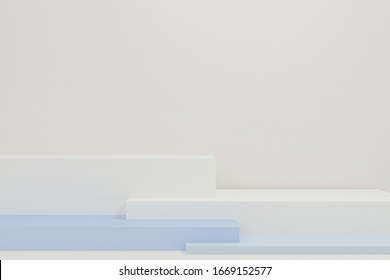Minimal 3d rendering scene with composition empty step cube shades of colorful white podium for cosmetic product and abstract background. mock up geometric shape in pastel colors. 3d illustration