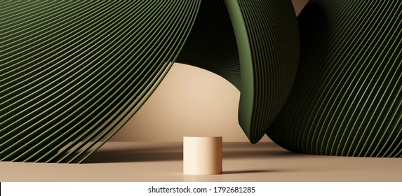 Minimal abstract background for branding and product presentation. Beige podium with green subtle circular geometric pattern. 3d rendering illustration. Clipping path of each element included.