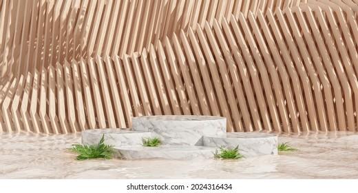 Fondo abstracto mínimo para la presentación de productos con pantalla de producto de mármol de formas podio y arquitectónicas geométricas. Ilustración 3d.