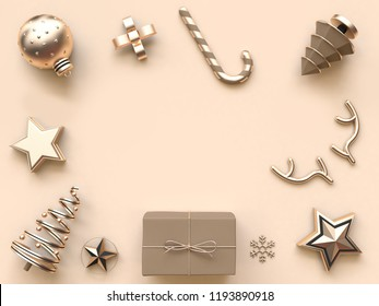 minimal abstract christmas background many object decoration 3d rendering