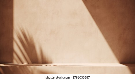 Minimal abstract cosmetic background for product presentation. Sunshade shadow on beige plaster wall. 3d render illustration. Object isolate clipping path included.