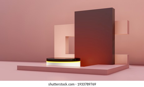 Minimal abstract exhibition background with geometric shapes and steps. Minimal background for present product design. Podium scene for product. 3D rendering