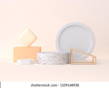 minimal abstract geometric 3d rendering scene marble gold orange abstract geometric shape