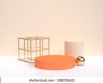minimal abstract orang gold geometric shape form white cream scene 3d rendering