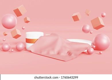 Bloc-bouteille et carré rose et doré abstrait minimal,concept de scène,élégance maquillage ou piédestal,produit d'exposition d'affichage,arrière-plan rose isolé, espace pour copie,illustration de rendu 3d