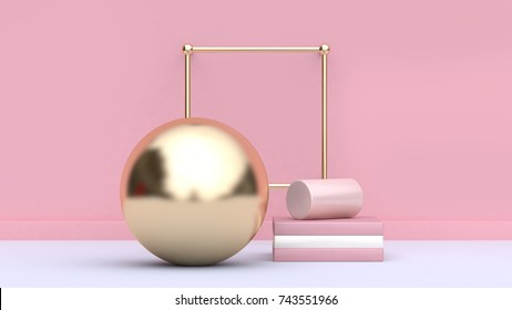 minimal abstract scene pink wall-background 3d rendering gold sphere soft pink cylinder set white floor geometric shape form