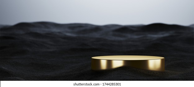 Minimal background for beauty and technology product presentation. Gold podium with black sand on white background. 3d rendering illustration.