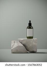 Minimal background for branding and packaging presentation. Cosmetic bottle on random shape sand stone, on sage green background. 3d rendering illustration.