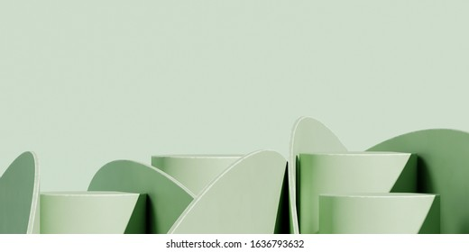 Minimal background for branding and packaging presentation. Green podium with green background. 3d rendering illustration.