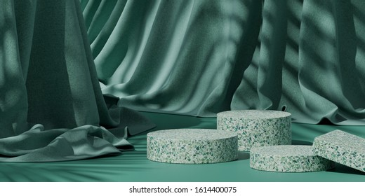 Minimal background for branding and product presentation. Green terrazzo on green fabric background with shadow of leaf. 3d rendering illustration.