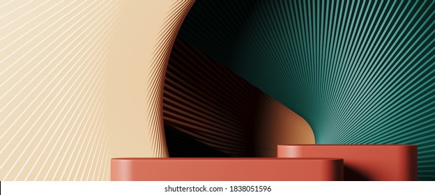 Minimal background for branding and product presentation. Colorful podium with subtle circular geometric pattern. 3d rendering illustration. Clipping path of each element included.
