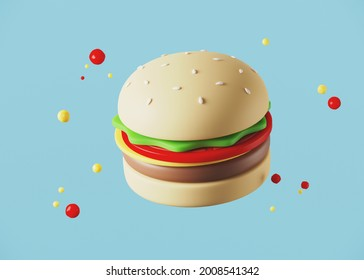 Minimal background for fast food concept. Hamburger cartoon style on blue background. 3d rendering illustration. Clipping path of each element included.