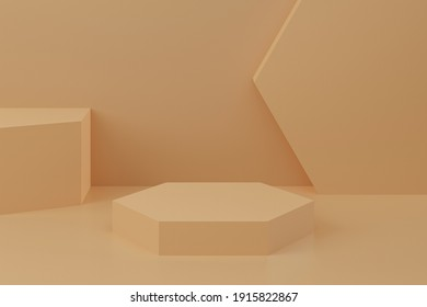 Minimal background, mock up with podium for product display,abstract white geometry shape, 3D Render