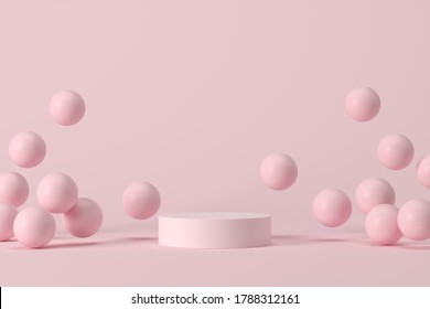 Minimal background, mock up scene with podium geometry shape for product display. 3D rendering