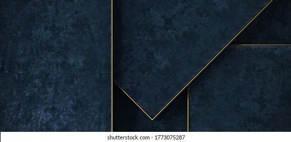 Minimal background for product presentation. Blue velvet tray with brass edge. 3d render illustration. Clipping path of each element included.
