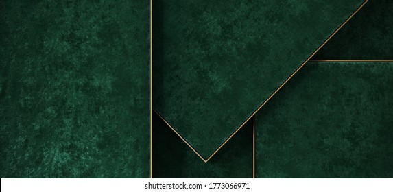 Minimal background for product presentation. Green velvet tray with brass edge. 3d render illustration. Clipping path of each element included.