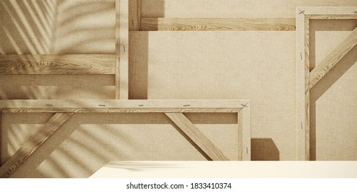 Minimal background for product presentation. Sunshade shadow on back of wood frame artist painting canvas background. 3d rendering illustration. Clipping path of each element included.