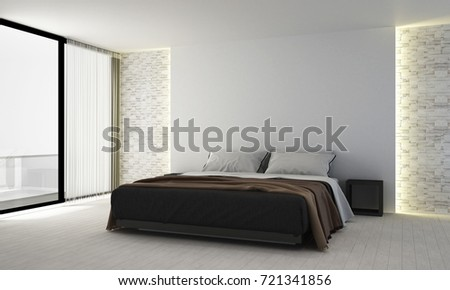 The Minimal Bedroom Interior Design And Wall Texture Wall Background/ 3D  Rendering New Scene New
