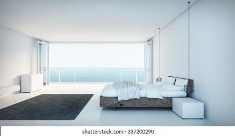 Minimal Bedroom on seaview / 3D render image