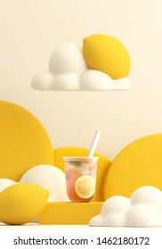 Minimal Beverage background for smoothie and drink presentation. Lemon Ice tea on yellow podium. Cafe poster templates mockup . 3d render illustration.