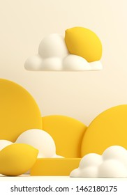 Minimal Beverage background for smoothie and drink presentation. Yellow podium with lemon background. Cafe poster templates mockup . 3d render illustration.
