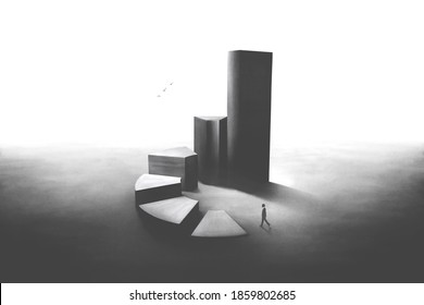 minimal black and white 3d illustration of man rising stairs to reach the success, business abstract concept