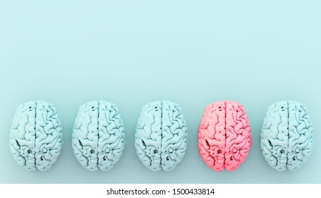 minimal blue brain collection with one pink. Different concept. 3d rendering.