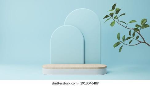 minimal Blue podium display for cosmetic product presentation, pedestal or platform background, 3d illustration