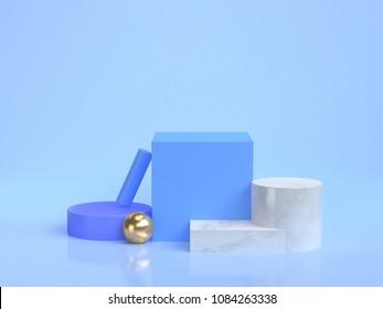 minimal blue scene geometric shape group set 3d rendering