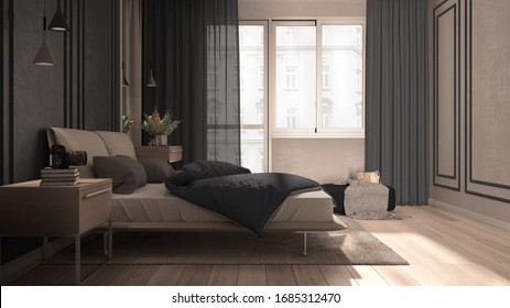 Minimal classic bedroom in gray tones with panoramic window, double bed with duvet and pillows, side tables with lamps, carpet. Parquet and stucco walls, luxury interior design idea, 3d illustration