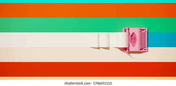 Minimal composition for social media and workplace concept. Pink vintage typewriter machine and paper roll on colorful background. 3d rendering illustration.