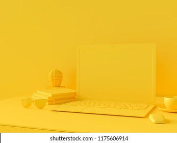 Minimal concept, Laptop on table Work desk  yellow color and mock-up for your text with notebook cup coffee mouse sunglasses cactus and clock. 3d render.